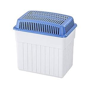 WENKO Feuchtigkeitskiller (mit 2 kg Granulatblock, Raumentfeuchter, fasst bis zu 2,8 l Feuchtigkeit, laborgeprüft, nachfüllbar, reduziert Schimmel und Gerüche, Maße (BHT): 23x24x15,5 cm) grau-blau