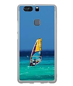 FUSON Designer Back Case Cover for Huawei P9 Plus (Blue sky ocean arts water surf boat drive)