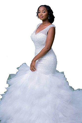 HotGirls Damen- Friesen Cap Sleeves Brautkleider Tiered Rüschen Nixe-Brautkleid (38, Weiß)