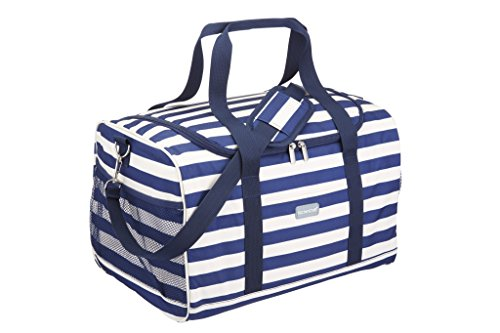 "Kitchencraft, borsa frigo, tema ""we love summer"", extra-large, con righe blue stile mare, 30 litri"