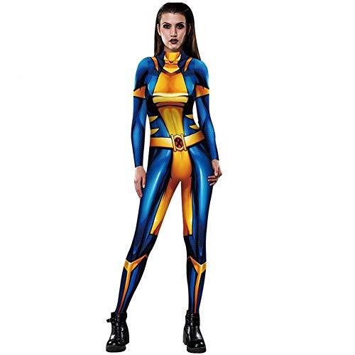 Men X Kostüm Einfache - WSJ Halloween Kostüme für Damen, Damen X-Men 3D Digital Print Eng anliegender Kostüm Body mit Rückendruck - Sexy Kostüm Jumpsuit Female,XL