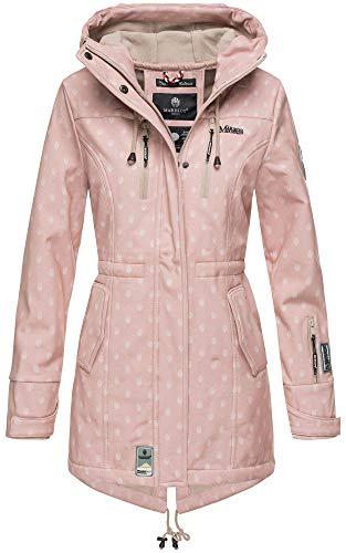 Marikoo Damen Winter Jacke Winterjacke Mantel Outdoor wasserabweisend Softshell B614 (Gr. L/Gr. 40, Rosa Muster)