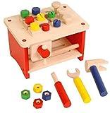 Unbekannt Kleine Werkbank + Werkzeug / Tischwerkbank aus Holz / Maße: 25 x 18 x 16 cm / für Kinder ab 3 Jahren