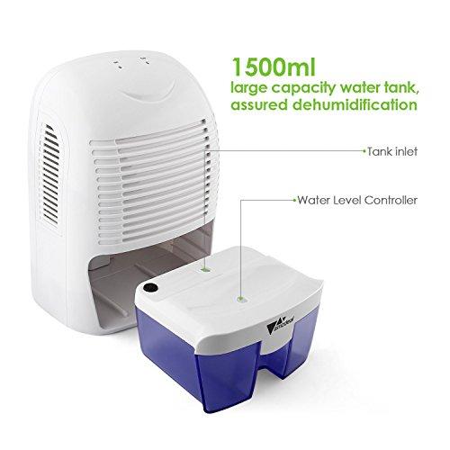 Amzdeal dehumidifier 1500ml compact portable mini dehumidifier for damp bathroom bedroom kitchen for Small dehumidifier for bedroom