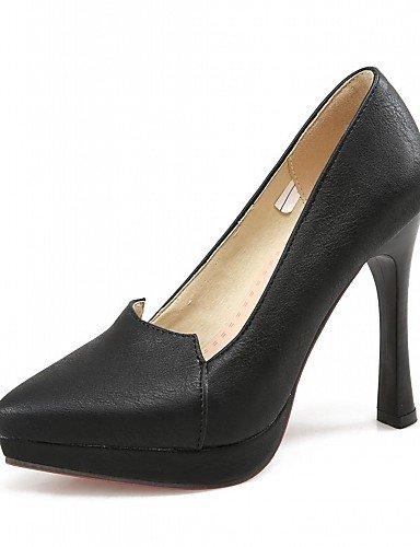 WSS 2016 Chaussures Femme-Bureau & Travail / Habillé / Soirée & Evénement-Noir / Gris / Beige-Talon Aiguille-Talons-Talons-Similicuir black-us8 / eu39 / uk6 / cn39