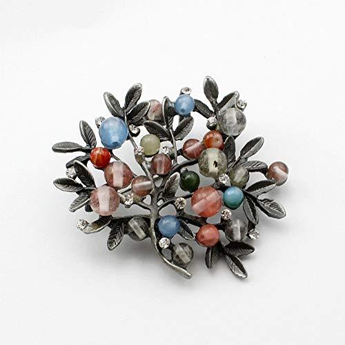 MYHMG Brosche Fashion Women Elegant Beaded Nice Jewelry Black Plated Simulated Pearl 'Tree' Brooch -