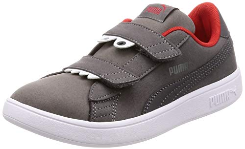 Puma Unisex-Kinder Smash V2 Monster V PS Sneaker Grau (Asphalt-Charcoal Gray-High Risk Red White 2), 28 EU