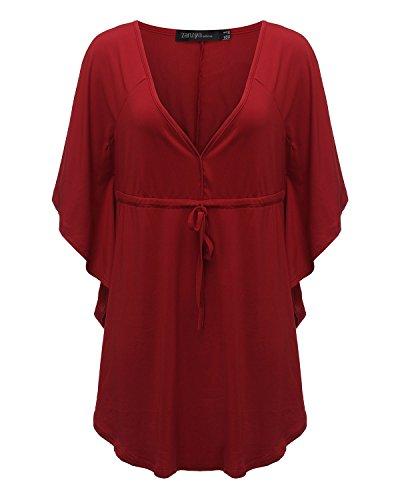 ZANZEA Sexy Femme élégante à Manche Chauve-souris Loose Chemise Hauts Blouse Tops Shirts Débardeur Rouge vineux