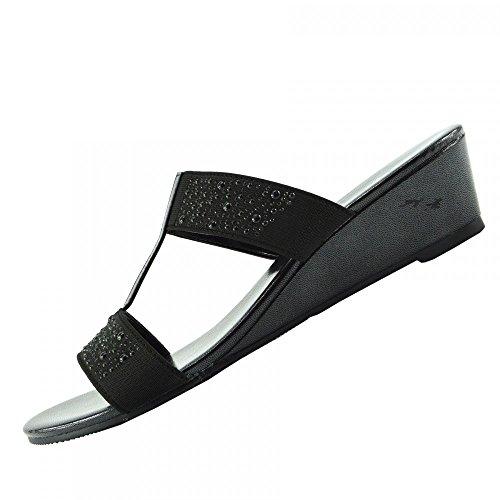 Kick Footwear - Donna diamante cuneo slip on dressy parti della piattaforma sandali Nero F10736