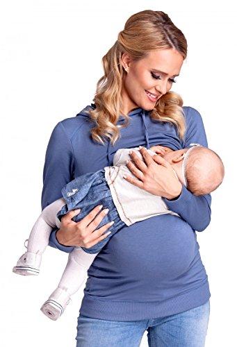 Happy Mama. Damen Kapuzenpullover Stillzeit Top Zweilagiges Sweatshirt. 272p Jeans