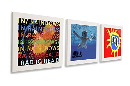 Art Vinyl Play & Display Schallplattenrahmen 3er-Set, weiß