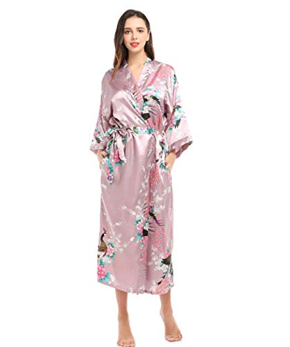 GL SUIT Bata de casa para Mujer camisón Largo Bata de Seda Kimono Tirantes camisón Albornoz...