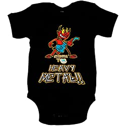 Body bebé Born to Heavy Metal Baby Negro, 12-18 meses