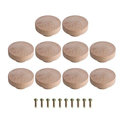 Yibuy 10 pomos de madera Superba color madera para armario y cajón, 50 x 25 mm