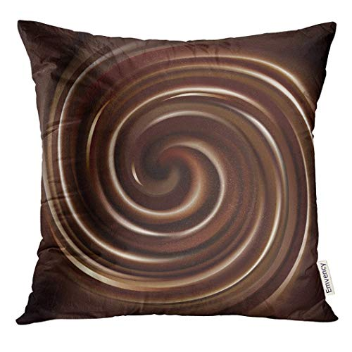 Throw Pillow Cover Brown Pudding of Swirling Chocolate Black Spiral Dark Decorative Pillow Case Home Decor Square 18x18 Inches Pillowcase