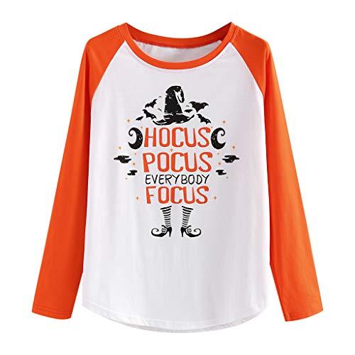 INLLADDY Damen Tops Brief Drucken Halloween KostüM LäSsig Lose Blouse Kleidung Orange S (90's Power Ranger Kostüm)