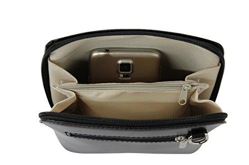AMBRA Moda - Borsa di pelle a tracolla Donna, borsa piccolo Himmelblau