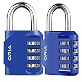 ?Nueva Versión?Oria 2 Pcs Cerradura de Combinación, Candado de Seguridad con Combinaciones de 4 Dígitos Reajustable, Ideal para Locker de Gimnasia Esc
