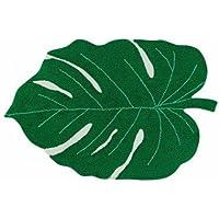 Lorena Canals Alfombra Lavable de Hojas Monstera, algodón, Verde, 120x 160x 30cm