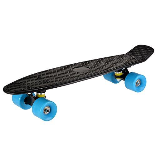 Ancheer-Mini-Cruiser-Skateboard Eine große Vielfalt von Farbe der Platten und Rädern 22 Zoll Kunststoff-Board im Retro-Stil (Schwarz und Blau)