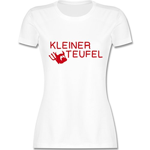 Sprüche - Kleiner Teufel - tailliertes Premium T-Shirt mit Rundhalsausschnitt für Damen Weiß