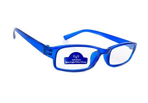 Slim Damen Herren Lesebrille +0.50 +0.75 +1.0 +1.5 +2.0 +2.5 Blue Light Filter Brille Blendschutz, Kratzfestes Objektiv Computer TV Anti Glare MFAZ Morefaz Ltd (+3.5, Blue)