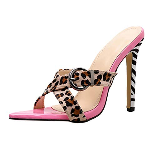 f7564d1d7c2d PRINCER Pink Leopard Women Slip-On Pointed Open Toe Super High Spike Heel  Sexy Shoes