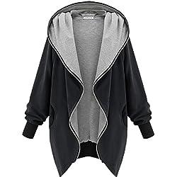 Minetom Mujeres Abrigo Gabardina Impermeable de Manga Larga con Capucha Coat Jacket Negro 50