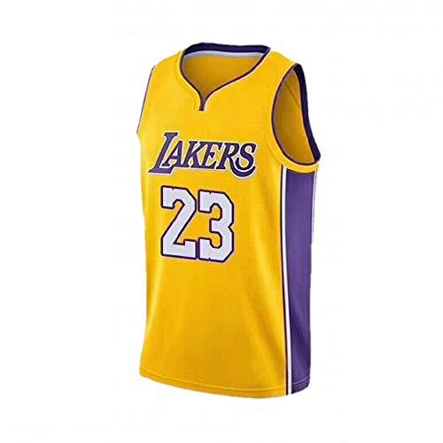 BUY-TO Basketball Jersey Etats-Unis NBA Lakers Lebron James 23 pour Hommes,Jersey-Yellow,XL