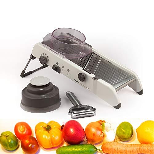 zikteez Mandoline de Cuisine Multifonctions sans BPA,Coupe légumes Professionnel INOX avec Lames intégrés pour Tranche Lisse ondulé frite Chips Julienne gaufré associé à Un éplucheur Premium.