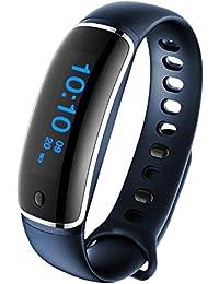 Pulsera Actividad Demiawaking Pulsómetro Monitor de Frecuencia Cardiáco Reloj Inteligente Impermeable de IP67 con Bluetooth 4.0 para Android y IOS Unisex