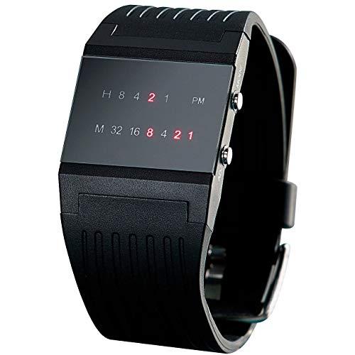 Monsterzeug Binäre Armbanduhr, Binäruhr, Uhr mit Binäranzeige, kreative Zeitanzeige, Geschenk für Männer, Maße: ca. 32 mm (Breite), 250 mm (Länge)