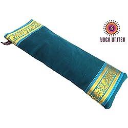 Yoga Malai - Almohada relajante para ojos (funda de algodón, relleno de lavanda y linaza, 27 x 20 cm) Ocean Green