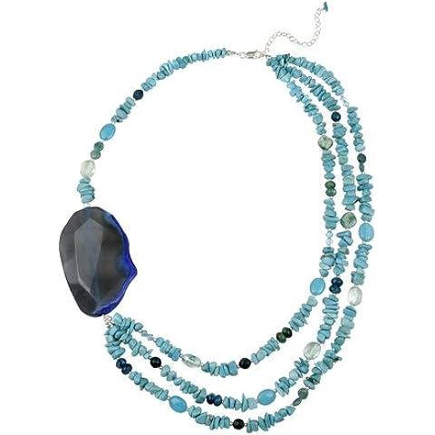 In argento Sterling, con agata, colore: blu, turchese, Apatite,-Collana a fili (Apatite Strand)