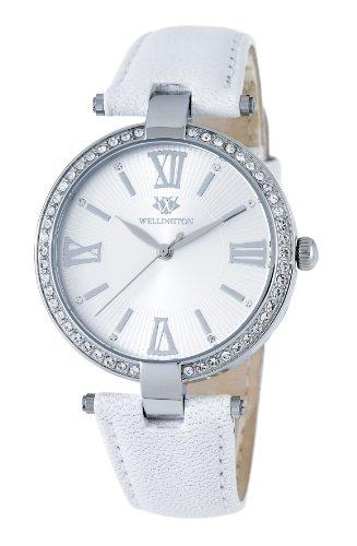Wellington WN502-116 - Reloj analógico de mujer de cuarzo con correa de piel blanca - sumergible a 30 metros