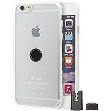 Funda con Soporte magnético para coche iPhone 6 / 6S - Transparente con Soporte Magnético para Coche, incluye pinza magnética para rejillas del coche y botón magnético para superficies planas