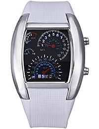 Vovotrade Hombres Señora Moda Deportes aviación de marcación de turbo flash LED Reloj de pulsera metros de coche (b)