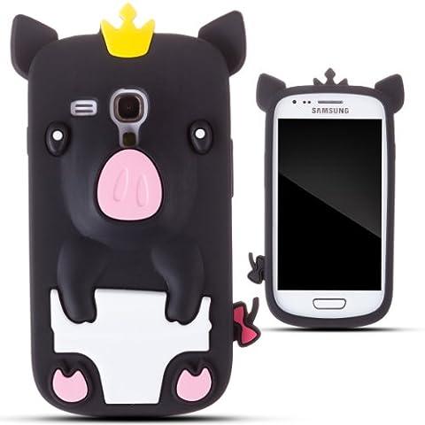 Zooky® Noir porcin silicone Coque / Étui / Cover pour Samsung Galaxy S3 MINI (I8190)