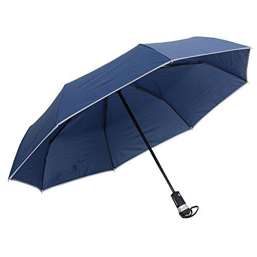 VLENIEN Auto Reflexivo Luz LED Paraguas Soleado Interruptor Automáticoy Cierre de Paraguas Plegable al aire libre de Viaje(Mar azul)
