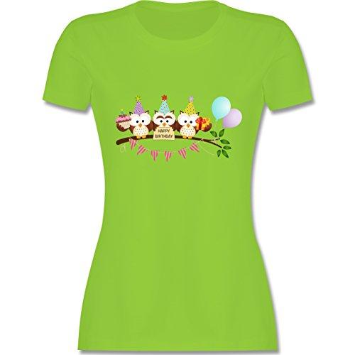 Geburtstag - Party Eulen Happy Birthday - tailliertes Premium T-Shirt mit Rundhalsausschnitt für Damen Hellgrün