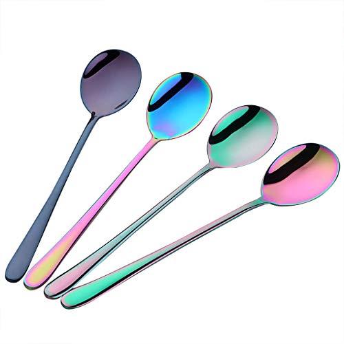 Rolin Roly 4 Stücke Esslöffel Dessertlöffel Set Edelstahl Rostfrei Mehrfarbig Rainbow Kaffeelöffel Eisteelöffel Teelöffel Satz Buntes Colorful Spoon