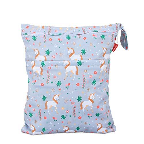 Damero wetbag nasstasche wiederverwendbar, windeltasche wetbag, Wetbag windelbeutel für Babys Windeln, schmutzige Kleidung und anderes Zubehör, (Mittel, Einhorn)