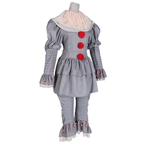 (JHion Halloween Clown Cosplay Halloween Kostüm Maske Pennywise Grau XL)