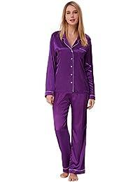 5dabf125b2 Zexxxy Women s Satin Pajama Set Long Button Down Sleepwear with Pants