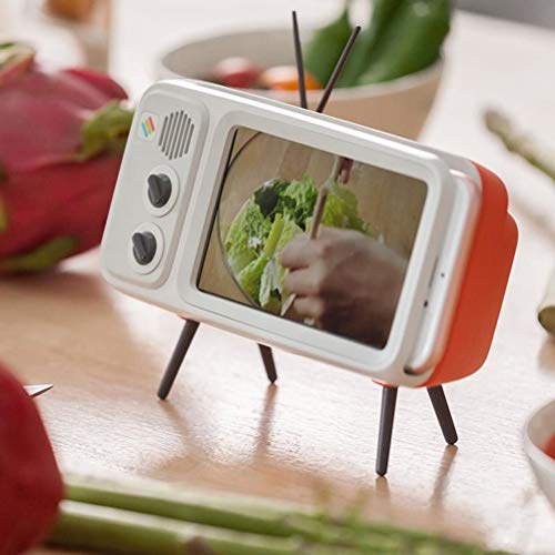 UKCOCO Altavoz inalámbrico Bluetooth, Altavoz portátil en Forma de televisión con Sonido estéreo, Ranura para Tarjeta TF, Soporte para teléfono con Puerto USB para Smartphone (Orange+White)