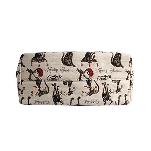 Borsa tote per Università donna di Signare a spalla in tessuto stile arazzo Gatto Atteggiamento