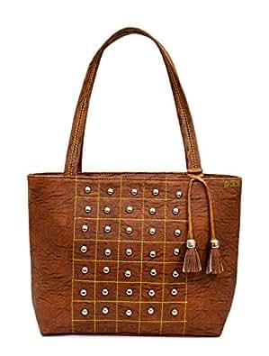 Splice women Tote Bags Women's Quality Hot Selling Trendy Shoulder Handbags (Brown)