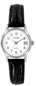 Shivas - A18392-201 - Montre Femme - Quartz Analogique - Cadran Blanc - Bracelet Cuir Noir