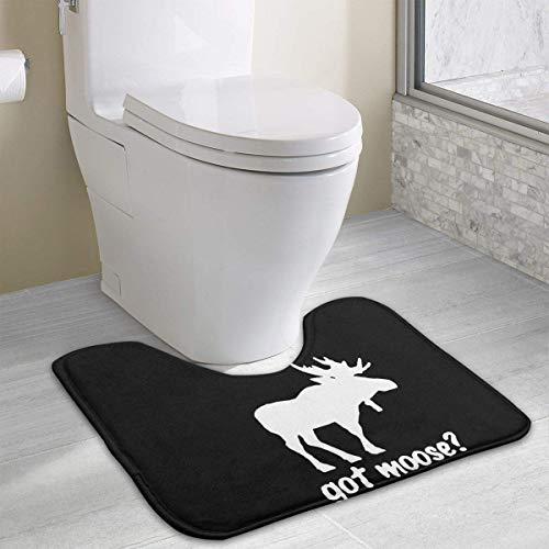 Hoklcvd Got Moose U-Shaped Toilet Floor Rug Non-Slip Toilet Carpets Bathroom Carpet