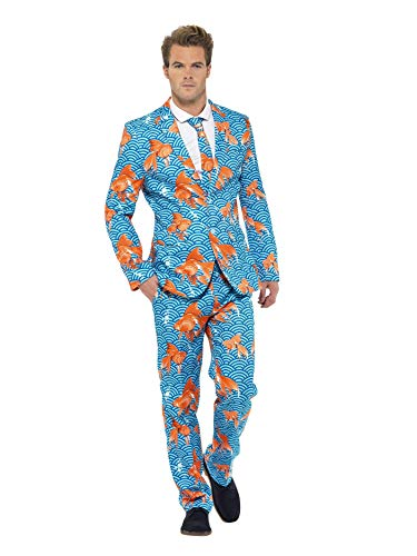 Smiffys, Herren Goldfisch Anzug Kostüm, Jackett, Hose und Krawatte, Größe: XL, 43530